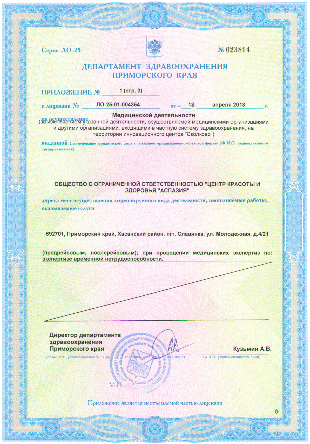 Лицензия приложение стр. 3